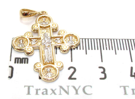 14K Gold Two Tone Cross Crucifix Pendant Gold