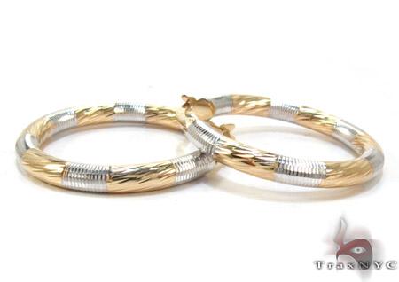 Two Tone 14K Gold Hoop Earrings Metal