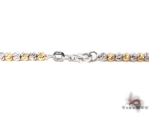 Two Tone Gold Disco Ball Chain 16 Inches 2mm 8.10 Grams Gold