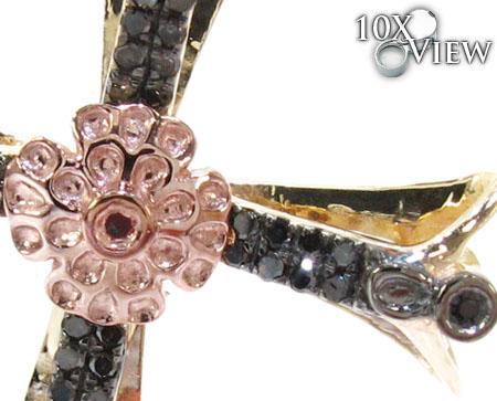 Two Tone Gold Round Cut Prong Bezle Black Diamond Cross Style