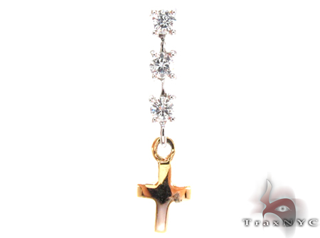 Two Tone Gold Round Cut Prong Diamond Cross Crucifix Pendant Style