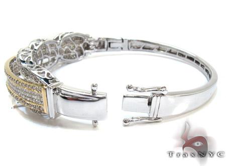 Two Tone Gold Round Princess Cut Prong Invisible Diamond Bangle Bracelet Bangle