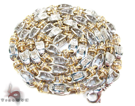 Two Tone Gold Round Princess Cut Prong Invisible Diamond Chain 36 Inches, 6mm, 128.5 Grams Diamond