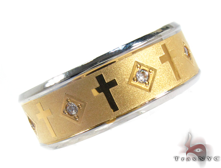 Cheap Mens CZ All Around Cross Ring Metal