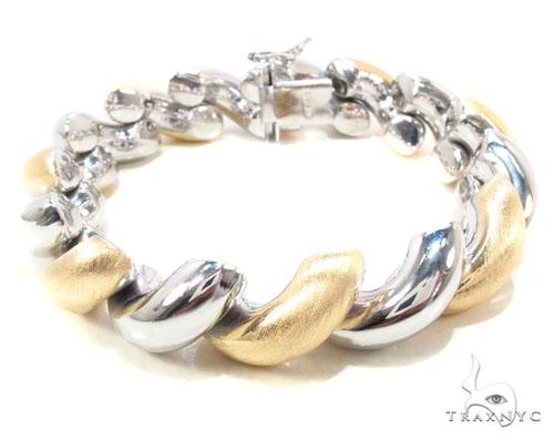 Two Tone Twist Silver Bracelet Silver