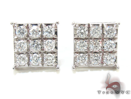 Mens Square Diamond Earrings 21409 Stone