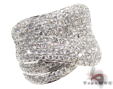 Unisex White Gold Pave Diamond Ring 21505 Stone