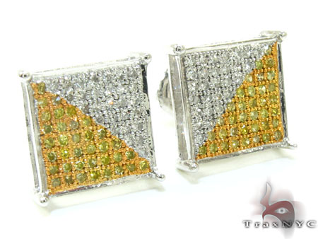 Unisex White Gold Two Color Diamond Earrings 21014 Stone