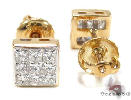 3 Row Yellow Gold Ice Diamond Stud Earrings 20749 Style