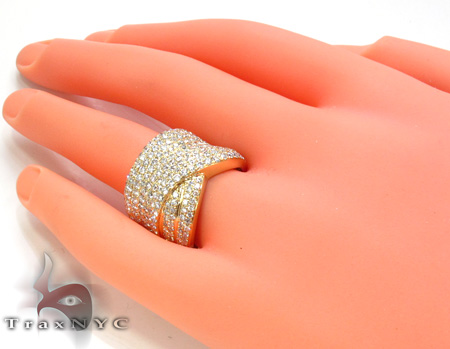 Unisex Yellow Gold Pave Diamond Ring 21504 Stone