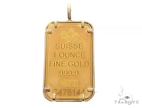 Versace Motif Dog Tag Pendant with 1 Ounce PAMP Suisse Bar Lady Fortuna 65515 Metal