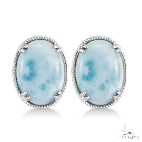 Vintage Oval Larimar Stud Earrings 16x12mm Gemstones Sterling Silver Stone