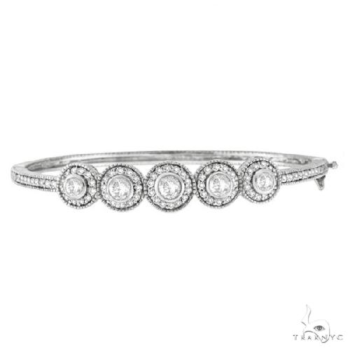Vintage Style Diamond Bangle Bracelet 18K White Gold Diamond