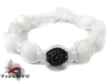 White Bead Black Crystal Bracelet 27745 Silver & Stainless Steel