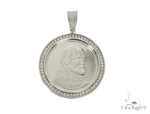 White Coin Jesus Pendant 63692 Metal