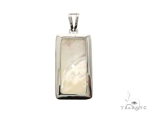 White Dog Tag Pendant 63699 Metal