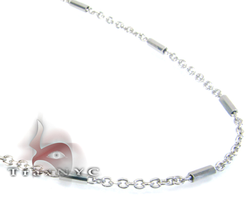 White Gold Beaded Hammer Chain 2 14K 20in Gold