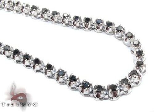White Gold Black Diamond Chain 20 Inches 5mm 43.7 Grams 64018 Diamond