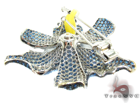White Gold Blue Shades Sapphire & Diamond Exotic Flower Brooch 25026 Stone