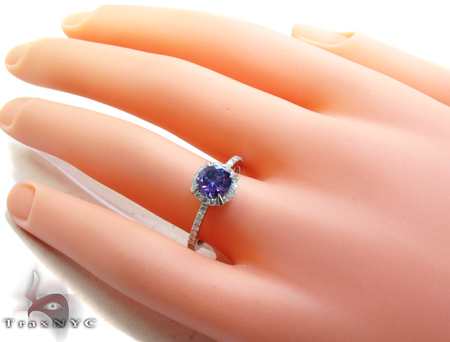 White Gold Amethyst & Diamond Ring Anniversary/Fashion