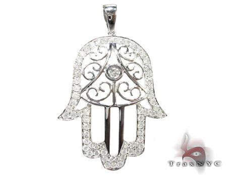 White Gold Hamsa Diamond Pendant Stone