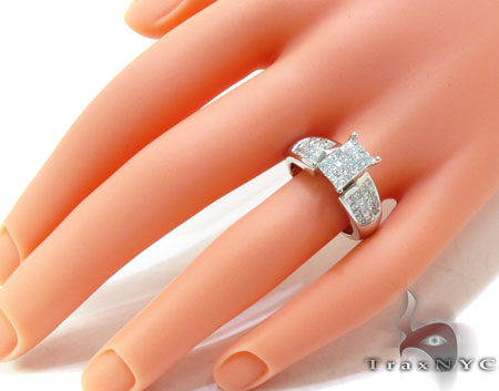 White Gold Invisible Diamond Ring Engagement