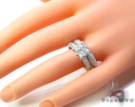 White Gold Princess Prong Cut Prong Diamond Ring Set Engagement