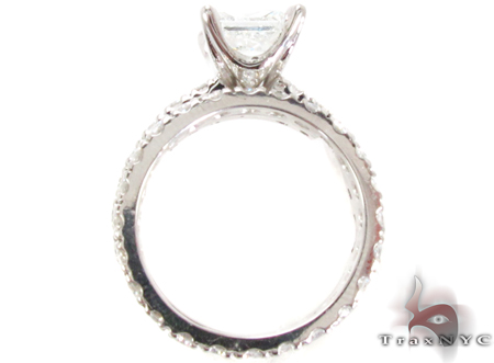 White Gold Princess Round Cut Prong Diamond Wedding Ring Set Engagement