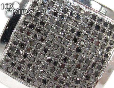 White Gold Round Cut Micro Pave Black Diamond Earrings Stone