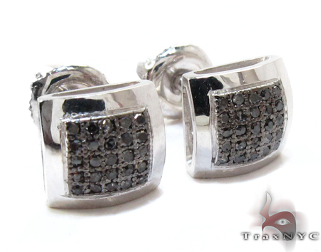White Gold Round Cut Micro Pave Black Diamond Earrings Stone