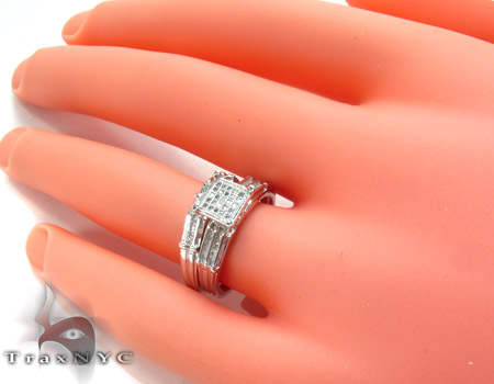 White Gold Round Cut Micro Pave Channel Diamond Ring Set Engagement
