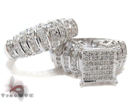 White Gold Round Cut Micro Pave Diamond Ring Set Engagement