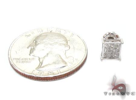 White Gold Round Cut Micro Pave Diamond Single Earring Style