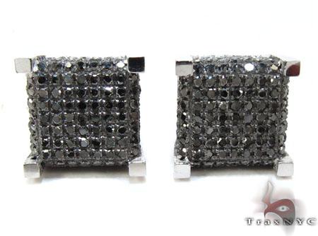 White Gold Round Cut Pave Black Diamond Cube Earrings Stone