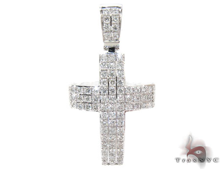 White Gold Round Cut Pave Diamond Cross Diamond