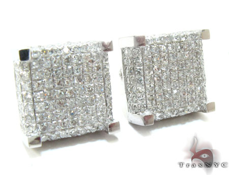 White Gold Round Cut Pave Diamond Cube Earrings Stone
