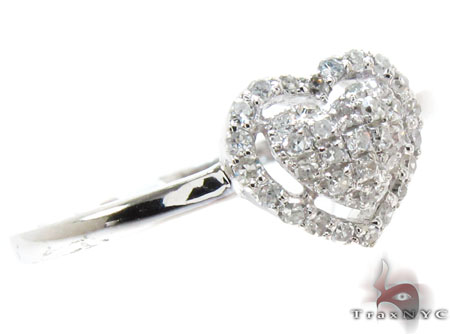 White Gold Round Cut Pave Prong Diamond Heart Ring Engagement