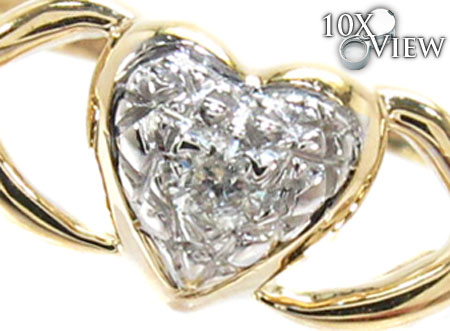 Yellow Gold Round Cut  Prong Diamond Heart Ring Anniversary/Fashion