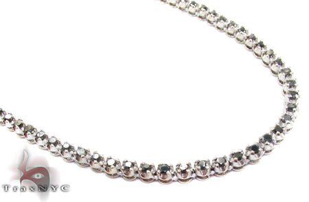White Gold Round Cut Prong Black Diamond Chain 18 Inches, 4mm, 27.5 Grams Diamond