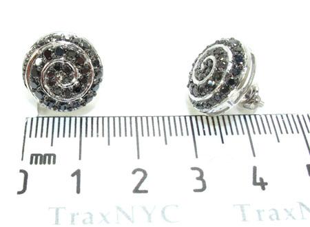 White Gold Round Cut Prong Black Diamond Earrings Stone