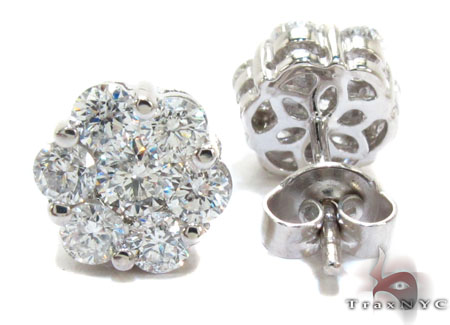 White Gold Round Cut Prong Diamond Cluster Earrings 24052 Style
