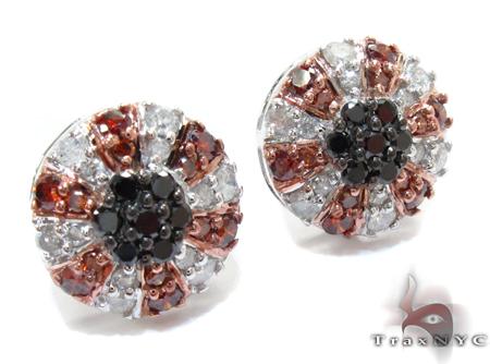 White Gold Round Cut Prong Diamond Earrings Stone