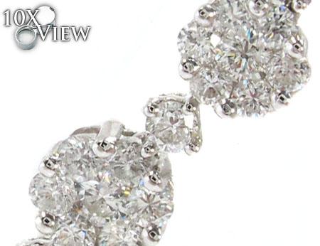 White Gold Round Cut Prong Diamond Heart Earrings Stone