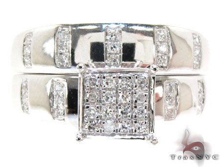 White Gold Round Cut Prong Diamond Ring Set Engagement