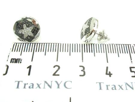 White Gold Round Cut Prong Diamond Star Earrings 25231 Stone