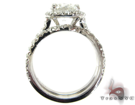 White Gold Round Cut Prong Diamond Wedding Ring Set Engagement