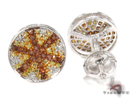 White Gold Round Cut Prong Multi Color Diamond Circle Earrings Stone