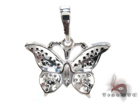 White Gold Round Cut Prong Tension Diamond Betterfly Pendant Stone