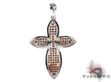 White Gold Round Cut Prong Two Color Diamond Cross Crucifix Style