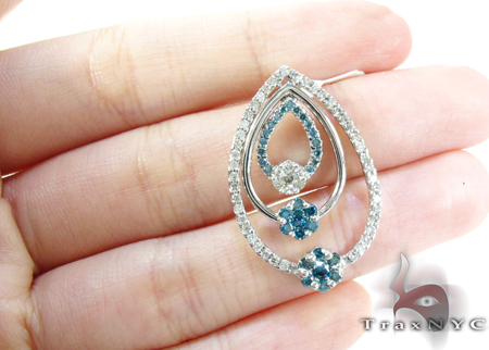White Gold Round Cut Prong Two Color Diamond Pendant 24892 Stone
